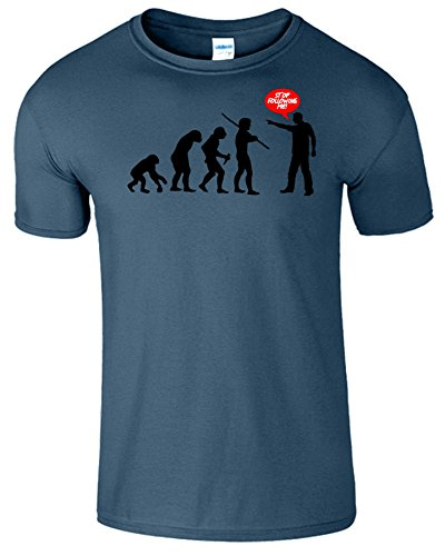 Evolution Stop Following Me Komisch Herren T-Shirt Indigo Blau