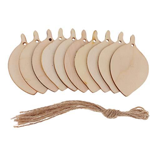 KESOTO 10 Stück Holzscheiben Hochzeit Holz Blatt Party Scheiben für DIY Handwerk Mini Verschönerungen - Bodhi Blatt, 80x48x2mm -