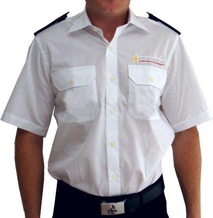 feuerwehrhemd Diensthemd Kurzarm, Baden-Württemberg nach VwV, weiß mit gesticktem Stauferlöwe