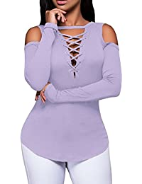Eozy Women Cold Shoulder Blouse Long Sleeves Lace-Up Ribbed Tops