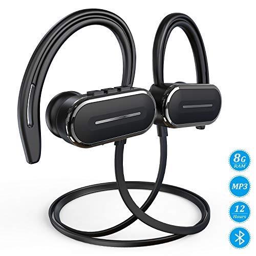 HSPRO Bluetooth-Kopfhörer, kabellos, IPX5, schweißfest, für Laufen, Workout mit Mikrofon, HD Stereo-Sound, Sport-Kopfhörer, 8 GB integrierter Speicher, MP3-Player, 12 Stunden Spielzeit Schwarz