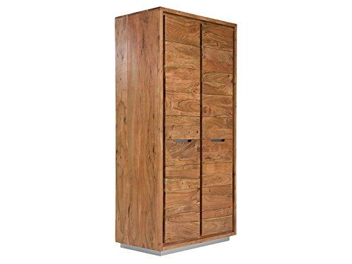 Massivum Kleiderschrank Bronks 2-Türig Akazie, Holz, Natur, 100 x 60 cm