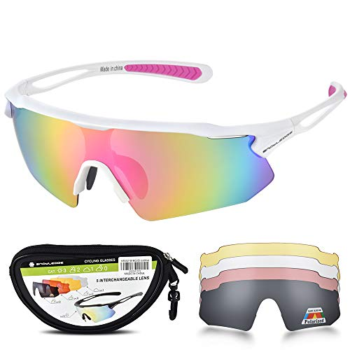 Snowledge Sportbrille Fahrradbrille Herren und Damen Radsportbrille Sonnenbrille Erwachsene Sport Radbrille Polarisiert Windschutz Brille Motorradbrille Rahmen TR90 UV400 Schutz