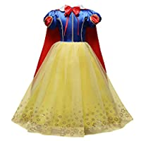 IWEMEK Girls Snow White Cosplay Dress Kids Princess Fancy Costume Baby Fairy Tale Dress Up with Cape Cloak Outfits Clothes for Carnival Photo Shoot Halloween Birthday Party Photography