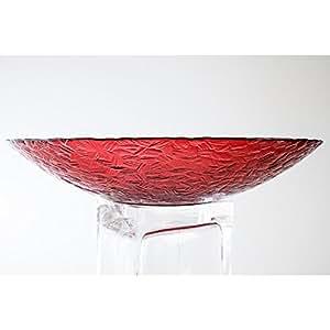 Coupe décorative / coupe à fruits ANJA ronde en verre, rouge, 8 cm, Ø 40,5 cm - Centre de table en verre - INNA Glas