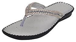 DR SOLE 2017 COLLECTION  FOR HER BY 1 WALK Womens Silver Beaded Indian Ethnic Footwear - 4 UK