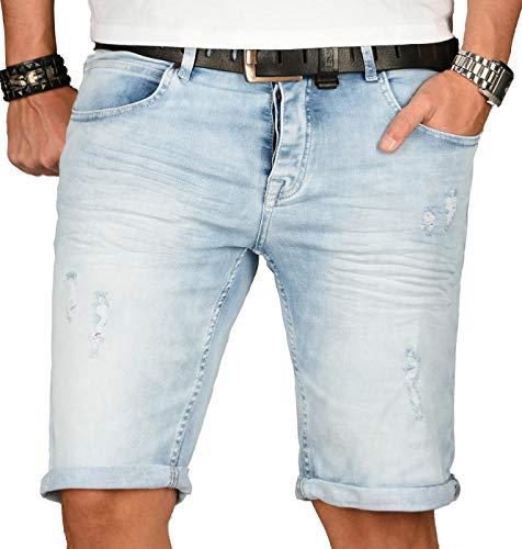 A. Salvarini Herren Designer Jeans Short Kurze Hose Slim Sommer Shorts Washed [AS-142-W34] - Jeans Und Hosen