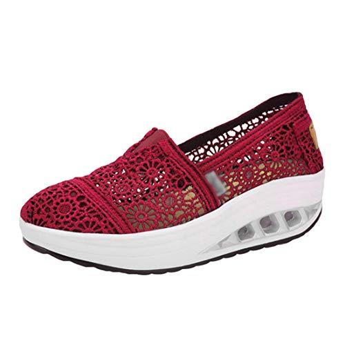 LINNUO Damen Plateau Sportschuhe Wedges Loafers Sneaker Spitzenschuhe Loafers Fitness Freizeitschuhe (Rose,CN 35)