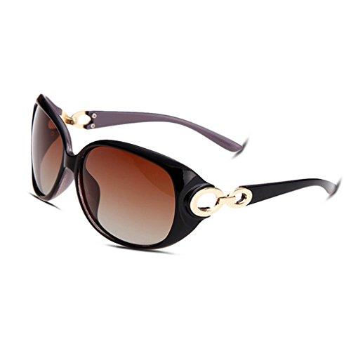 hmilydyk Frauen Fashion Luxus Polarisierte Sonnenbrille Oversized Kunstharz Spiegel Objektiv UV400Brillen Eyewear mit Fall, Black Frame Brown (Dress Frauen Einfach Für Ideen Fancy)
