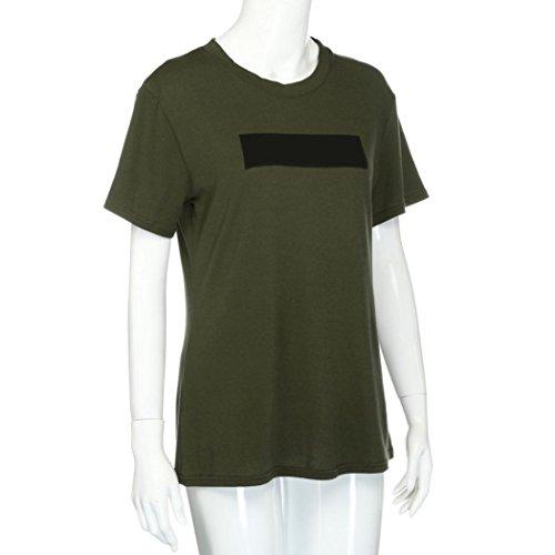 OverDose Damen Lose kurze Hülse beiläufige Blusen Hemd Oberseiten Art und Weise sommer T-Shirt Tops Tank Grün