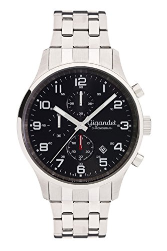Gigandet Men's Quartz Watch Red Touch Analogue Chronograph Stainless Steel Bracelet Black Silver G51-002