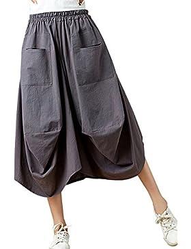 Holgada Hippie Aladdin Yoga Harem Ancho Pierna Pantalones Capri Para Mujer Gris Oscuro Talla única