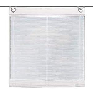 Home Fashion 91763-701 - H: 140 x B: 80 cm Raffrollo, Effekt-Querstreifen, weiß