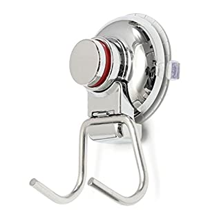 Sucker Hanger - TOOGOO(R) Bathroom Kitchen Stainless Steel Double Hook Strong Vacuum Suction Cup Hanger Silver