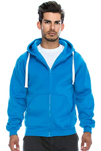 Herren Hipster Hip Hop Basic Heavyweight Zip Hoodie Jacke (Größe bis 6XL Plus) - - Groß Tall Classic Zip Fleece