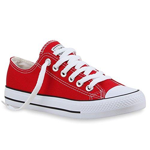 Scarpe da ginnastica, da donna | ideali per tempo libero e lo sport | scarpe basse | dimensioni ampie | flandell®, rosso (rot ambler), 46 eu