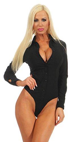 Fashion4Young 5985 Damen Bodybluse Tailliert Langarm Bluse Damenbluse Bodybluse Hemdbluse (schwarz, S-36)