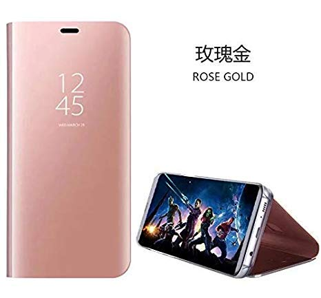 hyujia Compatible para Xiaomi Redmi Note 7/7Pro Carcasa 2018/Funda Inteligente Fecha/Hora Ver Espejo tirón del Caso Soporte Plegable/Duro Shell Teléfono Case Cover para Xiaomi Redmi Note7 Oro Rosa