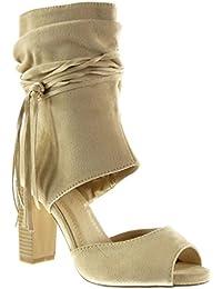 Angkorly - Zapatillas de Moda Botines Sandalias Peep-Toe abierto sexy mujer tanga fleco Talón Tacón ancho alto 9 CM - Beige