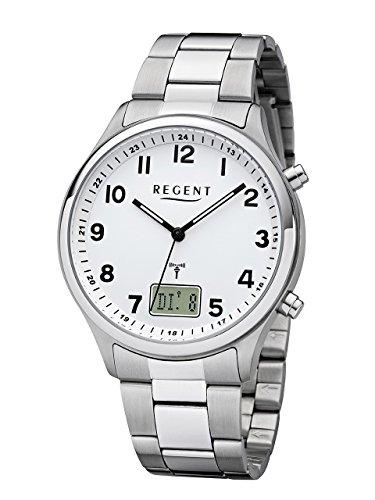REGENT Herren-Armbanduhr Funkuhr Edelstahl analog-digital Quarz Stahlband silber BA-444