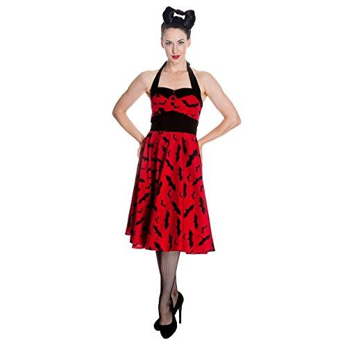 Robe dos-nu années 50 Hell Bunny Rockability chauve-souris produit de marque robe balancée rouge noir - S