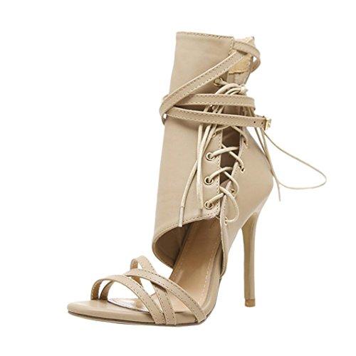 Metall-heel Stiefel (Damen Sandalen Ronamick Römische Schnalle Schuhe Frauen Sandalen Sexy Sandalen High Heels Frau Knöchel Stiefel (36, Khaki))