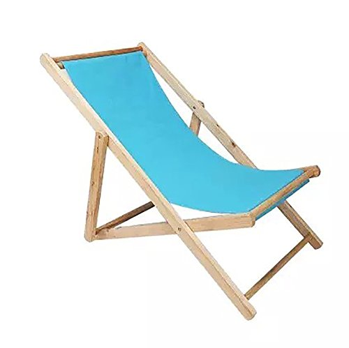 Blaue Strand-klapp-stühle (Folding Chair YAN SYF Garten Klappstuhl Nackenkissen Klapp Strand Stuhl Holz Liegestuhl Outdoor Leinwand Klappstuhl Liege Büro Belastung 140kg A+ (Farbe : Blau))