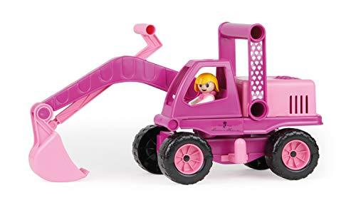 Lena 04102 - Prinzessin von Hohenzollern Bagger, rosa / pink, ca. 35 cm, Spielfahrzeug für Kinder ab 2 Jahre, robuster Schaufelbagger mit Stahlachsen, Spielfunktion und Spielfigur Mädchen