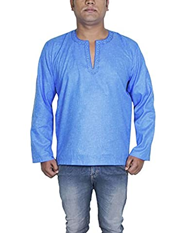 Casual Shirt Full Sleeve for Mens Cotton OM Fashion Indian Kurta Blue Outfit -L