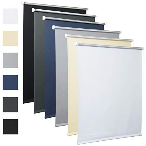 HOLISTAR Thermorollo mit Beschichtung Verdunklungsrollo in Weiß 90x210 cm Klemmrollo für Fenster & Tür Klemmfix ohne Bohren Fensterrollo Seitenzugrollo