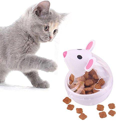 FOONEE Cat Treat Ball Spielzeug, Tumbler Pet IQ Austritt Ball, Niedliche Maus Form Interaktives Spielzeug Lebensmittel-Spender für Hunde, für Hunde Katzen Weiß