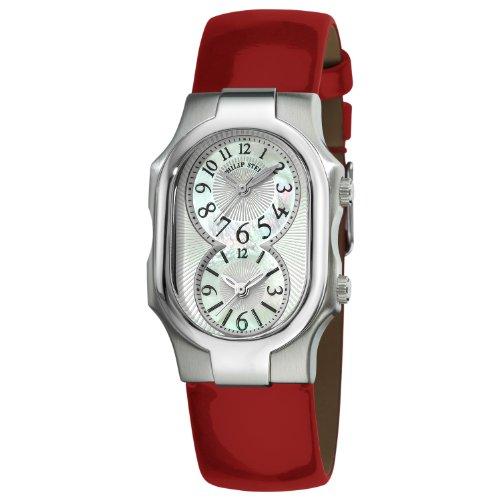 Philip Stein Signature Large Women's Red Calfskin Quartz Watch 1-NF-MOP-LR