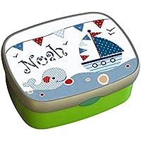 Kindergarten Brotdose mit Name, Mädchen, Jungen, Wal-Segelschiff, Schule, Kita, personalisiert, Lunchbox, Brotzeitdose, Vesperdose, Vesperbox, ginidesign