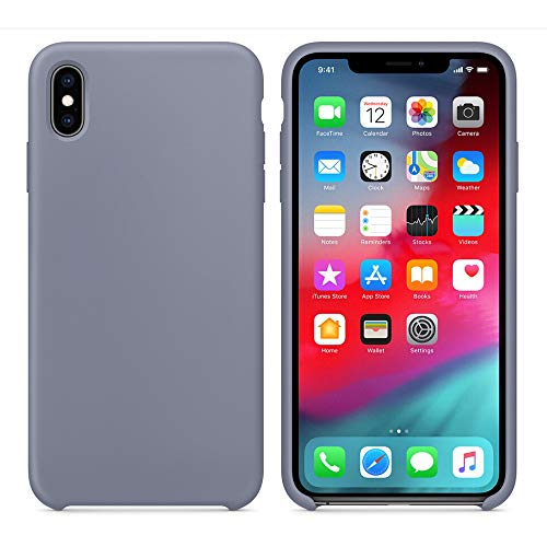 QINPIN Ultradünne Silikon-Leder-weiche Hülle für iPhone XS 5.8Zoll Grau