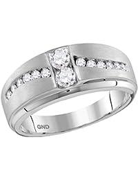 Jewels By Lux anillo de oro blanco con banda de diamantes para hombre