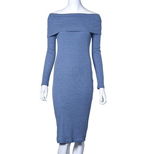 Manadlian Robes Femmes, Robes Femmes 2017 Femmes Manches Longues Épaule Hiver Stretch Bodycon Long Robe Bleu