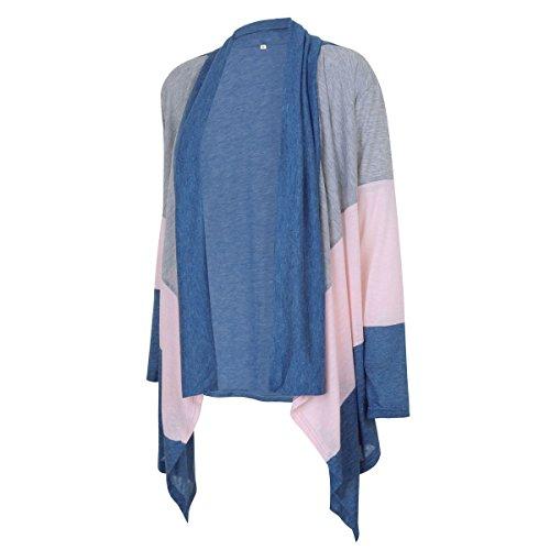 Lanmworn Femmes Ouvrir Le Devant Revers Trois Couleurs Bloc éPissage Manche Longue Veste Cardigan, L'Automne Mode En Vrac Doux IrréGulier Outwear Haut Sweat-Shirt. Bleu