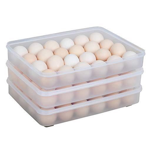 Paquete de 3 soportes para huevos cubiertos para refrigerador, dispensador de caja de almacenamiento de huevos de bandeja de huevos transparente 3X24, contenedores de huevos de plástico apilables