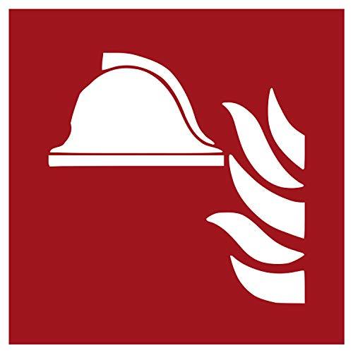 F004 Brandschutzaufkleber Mittel und Geräte zur Brandbekämpfung | Nachleuchtend nach DIN 67510 in grün | Selbstklebend Folie für Betriebe, Produktion & Kliniken | 150 x 150 mm | PlottFactory