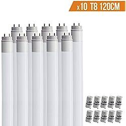 [x10 tubes] Tube néon led 120 cm douille T8 18W de 1600 lumens réel blanc froid 6000°K+ starter inclus