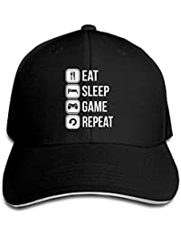 NFHRREE Hat Eat Sleep Game Repeat Denim Skull Cap Cowboy Cowgirl Sport Hats Men Women