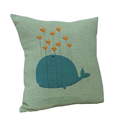 Nunubee Baumwolle Leinen Werfen Startseite Kopfkissenbezug Fisch Sofa Kissenbezug Stil D