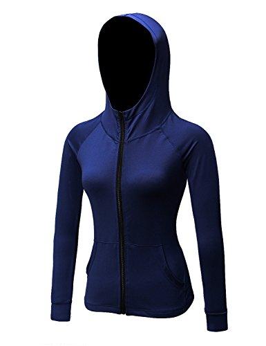 DZRZVD Damen Active Running Yoga Workout Sport Langarm Full Zip Jacke, Damen, blau, Medium/Etikett:X-Large (Yoga Jacke Blau)