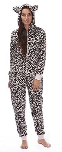 Da donna ONEZEE da donna con cappuccio Tuta intera Animal Leopard Zebrato Pink Leopard