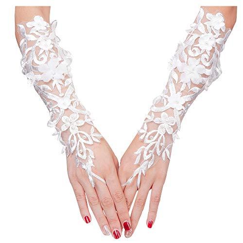 VITORIA'S GIFT The Bride Hochzeitskleid mit Pailletten-Spitzen-Handschuhe - weiß - Groß