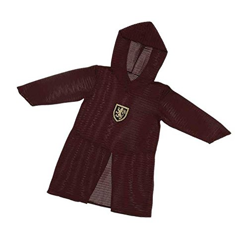 Kettenhemd Kostüm (Trullala Kettenhemd, Ritterkostüm, Mittelalter-Kinderkostüm, lang Größe: M-L in weinrot (4-8)