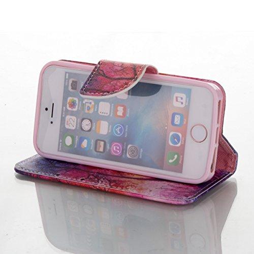 Handyhülle für Apple iPhone 5/5s/SE, Ekakashop Ledertasche Schutzhülle im Bookstyle für iPhone 5s, Rote Feder Muster Leder Tasche Handytasche Zubehör Portemonnaie mit Kartensteckplätze für iPhone SE + Rot Baum