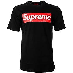 Supreme Italia - Camiseta Deportiva - para Hombre Negro-Rojo Large
