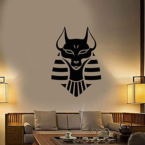 Anubis Antiguo Dios Egipcio Vinilo Tatuajes de Pared Decoración para el hogar Sala de Estar Arte Mural Pegatinas de Pared 57x81 cm