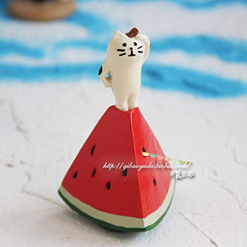 GBYJ Dekoration Seaside White Bear Travel Cat Schwarzbär Coco Doll Car Dekoration, Watermelon Lookout White Cat -
